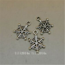 25pc Tibetan Silver Charms Christmas Snowflake Pendant Beads Accessories PL929