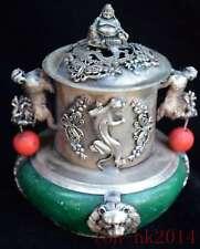 Collectable Miao Silver Carve Dragon Inlay Agate Souvenir Ancient Incense Burner