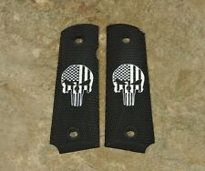 1911 grips black / white two tone Ambi full size AMERICAN FLAG PUNISHER SKULL
