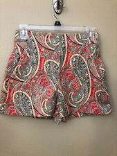 Zara Women High Waisted Multi Color Paisley Print Shorts size XS Red Blue New