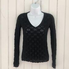Banana Republic Women XS V Neck Sweater Black Open Weave Long Sleeve 100% Cotton