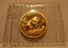 China 1990 Gold 1/20 oz Panda 5 Yuan Small Date Original Mint Sealed BU