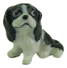 Miniature Porcelain Cavalier King Charles Figurine Approx 1.5cm HIgh (TINY) B/W