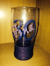 Personalised Glitter Pint Glass, Birthday, 18th, 21st, 30th, 40th, 50th, 60th,