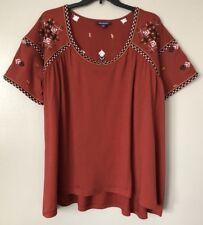 Roaman��s Women��s Plus Size 1X (22/24) Cotton/Rayon Embellished Top Blouse New