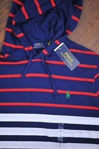 NWT Polo Ralph Lauren Lightweight Pullover Hoody Navy Stripe Men's Medium M