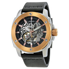 FOSSIL ROSE GOLD+SILVER TONE,BLACK LEATHER BAND,AUTOMATIC SKELETON WATCH ME3082