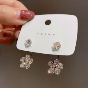 925 Silver Rhinestone Crystal Flower Earrings Stud Dangle Women Wedding Hot Gift