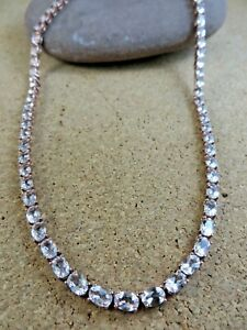 """NATURAL ROUND PEACH MORGANITE 925 STERLING SILVER LONG CHAIN NECKLACE 36/"""" MALA"""
