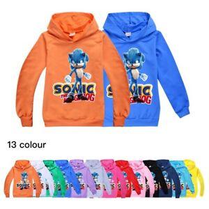 Kids Sonic the Hedgehog Hoodie Jumper Hooded Sweatshirt Jacket Boys Girls Tops