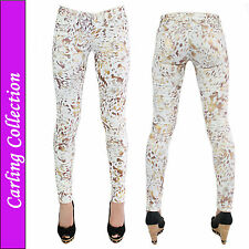 Womens Ladies Luxury Pattern Print Leggings Jeggings Stretchy Trouser Skinny Fit