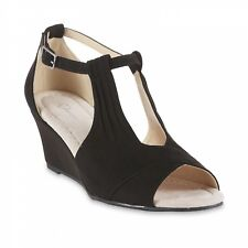 I Love Comfort Women's Wanda Black Wedge Dress Sandal Shoes Size 7 Medium