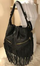 "Oryany ""Bristol"" Black Leather Fringe Hobo RARE Shoulder Bag HandBag Purse NWT"