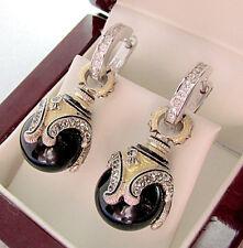SALE ! BEAUTIFUL MADE OF STERLING SILVER 925  EARRINGS w/ GENUINE ONYX &  ENAMEL