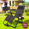 New Heavy Duty Zero Gravity Chair Lounge Folding Adjustable Pool W/Canopy+Holder
