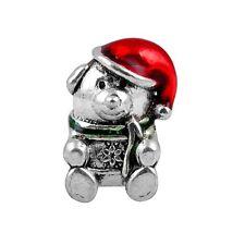 Christmas Bear Silver Plated Red Enamel Spacer Charm Bead European Bracelets