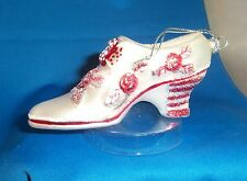 Valentine's Day Old Fashioned Shoe White Red Glass Handcrafted Ornament NEW