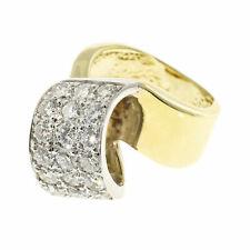 Vintage Ribbon Swirl White Gold Top .77ct Diamond Size 2 1/2 Yellow Gold Ring