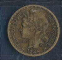 Togo 2 1924 sehr schön Aluminium-Bronze 1924 1 Franc Laureate (8977183