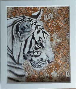 Original for Gemma only white Indian lion ,tiger painting William Morris fabric