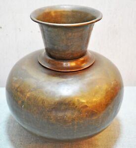 Original Old Antique Hand Crafted Brass Round Flower Pot Vase