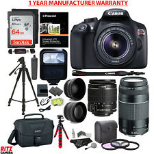 Canon EOS Rebel T6 DSLR Camera + EF-S 18-55mm + EF 75-300mm Telephoto and WAL