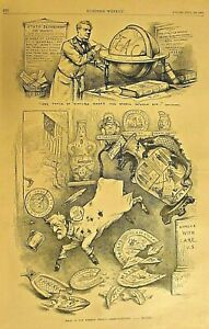 Th. Nast, Political Cartoon, Foreign Policy, Vintage 1882 Antique Art Print