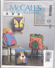 Mccalls Novelity Fun Animals Backpacks Sewing Pattern 6808