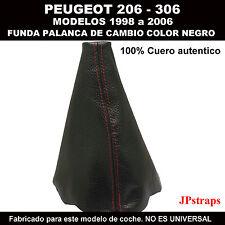 PEUGEOT 206 FUELLE PALANCA DE CAMBIOS 100% PIEL 1998 A 2006 COSIDO EN ROJO