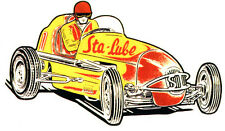 STAY STA-LUBE INDY YELLOW RACE CAR HOT RAT ROD RACING NHRA DECAL BUMPER STICKER