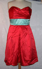 AFTER SIX  RED DRESS GOWN SIZE 8 GREEN SASH STRAPLESS FORMAL PROM SEXY