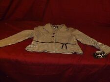 NWT Sweet Suit Petite 12P Jacket black white hounds tooth short sleeve RB 11951