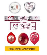 RUBY 40th Wedding ANNIVERSARY Party Supplies - Banners, Balloons & Decorations