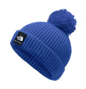 The North Face Baby Infant Box Logo Pom Beanie XXS 0-6 Months Blue