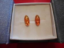 Baltic Amber Marquise Stud Solitaire Earrings in 925 Sterling Silver-1.50 Carats
