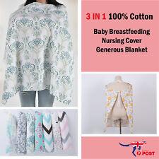 100% Breathable Cotton 3 in 1 Baby Breastfeeding Nursing Cover Generous Blanket