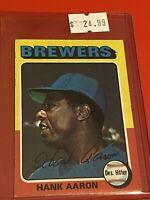 1975 Topps Baseball Card MINI Set #660 Milwaukee Brewers HANK AARON LAST CARD