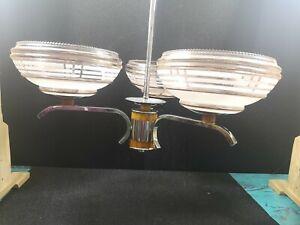 Art Deco 3 Arm Glass, Chrome & Bakelite Chandelier Ceiling Light 1930s Vintage