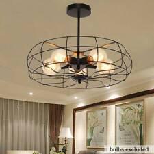 Semi Flush Mount Ceiling Light Pendant Lamp Fan Metal Cage Chandelier Fixture