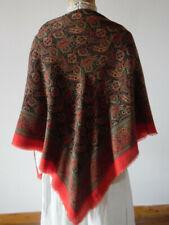 Vêtement ancien : Grand chale de couleur en étamine de laine -dominante rouge