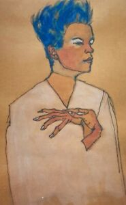 Egon Schiele, Self Portrait with hands on chest, Hand Signed Lithograph