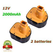2 PCS Batterie pour Black&Decker 12V XRP 2.0Ah A9252,A9275,A9266,PS130A Jaune