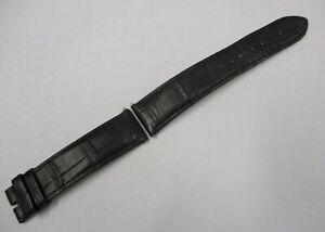 Genuine OMEGA 20mm x 18mm Black Gator Leather Wrist Watch Strap 98000413 w/ Pins