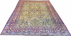 2nd 2 None 7x10' Gold Ground 100% Silk 600 KPSI Keshan Rug Circa 1900