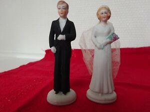 ANTIQUE (1933) GERMAN WEDDING COUPLE CAKE TOPPER BISQUE PORCELAIN