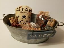 New ListingPrimitive Laundry Room Decor Wash Tub Basin W/Clothespins And More Cute!