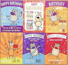 6 Pack of Humorous Funny Birthday Cards MALE MENS FEMALE LADIES OPEN RUDE FUN