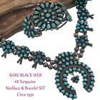 RARE #8 Turquoise Squash Blossom Necklace Bracelet SET BLACK WEB OLD PAWN Zuni