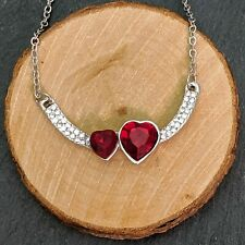 Silver Plated Red Crystal Heart Pendant Necklace