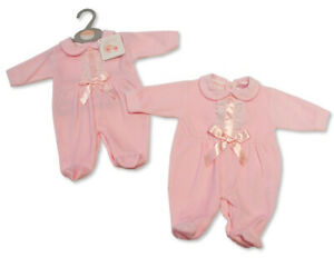 Baby Girl Clothes Spanish Romany style outfit sleepsuit   Pink NB 0-3 - 3-6 m
